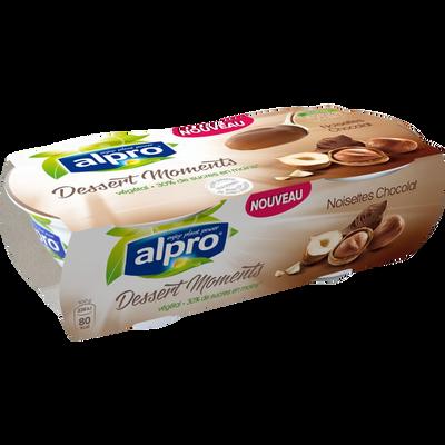 Dessert au soja avec noisettes chocolat moments ALPRO, 2X125G