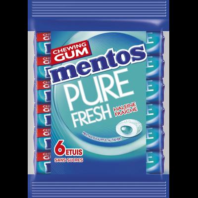 Chewing gum sans sucre menthol eucalytus, MENTOS GUM, pure fresh, sachet de 6 étuis, 93g