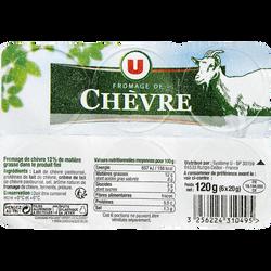 Fromage frais pasteurisé de chèvre pyramide 12% de matière grasse U, 6pots de 20g