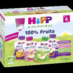 Purée de fruits et jus de fruits 4 variétés Bio HIPP, dès 6mois, 8x90g