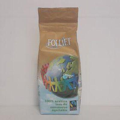 Café 100% arabica commerce équitable FOLLIET sachet 250g