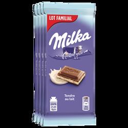 Chocolat tendre au lait MILKA tablette 4x100g soit 400g lot famillial
