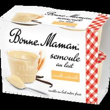 Semoule au lait à la vanille naturelle BONNE MAMAN, 4x100g