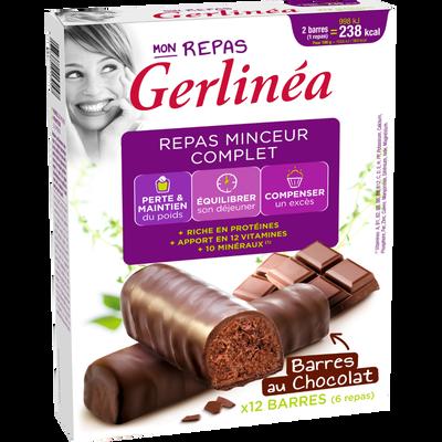 Barres repas minceur hyperprotéiné au chocolat GERLINEA, x12