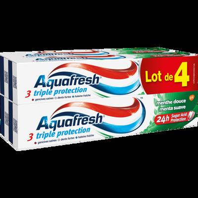 Dentifrice triple protection menthe douce AQUAFRESH, 4 tubes de 75ml