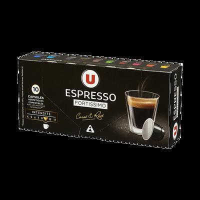 Café espresso fortissimo U, 10 capsules, 55g