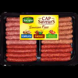 Assortiment saucisses fines 3 saveurs, SOCOPA, 20 pièces, barquette, 460g