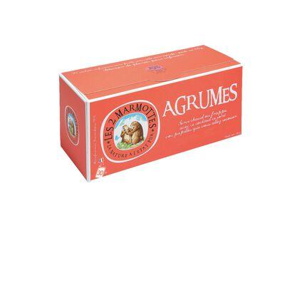 Infusion aux agrumes LES 2 MARMOTTES, 30 sachets soit 55g