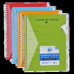 Cahier de texte à reliure intégrale U, seyès, 17x22cm, 148 pages,coloris assortis avec sticker