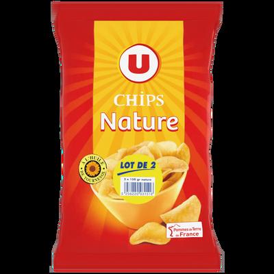 Chips nature U, 2 paquets de 150g