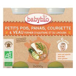 Pot Petit pois Panais Courgette et Veau BABYBIO dès 6 mois 2x200g