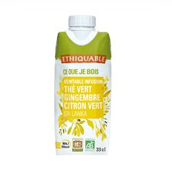 Thé glacé thé vert Gingembre/Citron vert BIO ETHIQUABLE 33cl