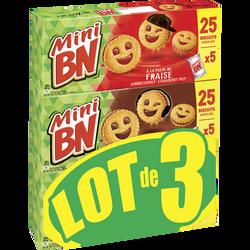 Mini biscuits fourrés goût chocolat ou fraise BN, 3x525g