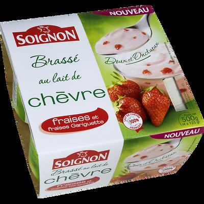 Yaourt brassé au lait de chèvre à la fraise SOIGNON, 4X125g
