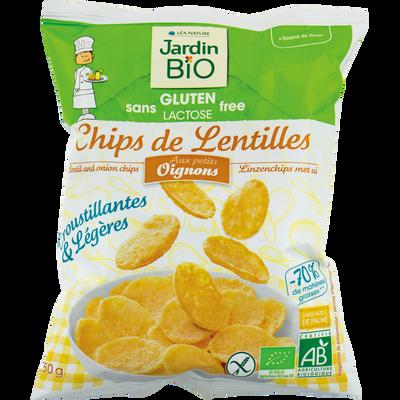 Chips de lentilles aux petits oignons sans gluten JARDIN BIO, sachet de 50g