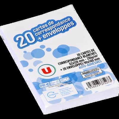 Carte de visite U, avec enveloppe auto-adhésive U, 90x140mm, lot de 20ensembles