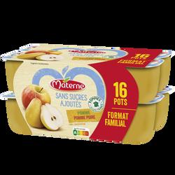 Spécialité frts pomme poire sans sucres ajoutés MATERNE coupelles 16x100g