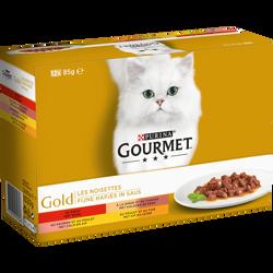 Aliment pour chat adulte les noisettes 4 variétés GOURMET GOLD, 12x85g