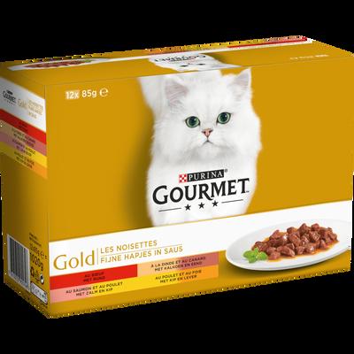 Aliment pour chat adulte les noisettes 4 variétés GOURMET GOLD, 12 boites de 85g