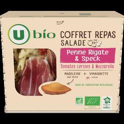 Coffret repas: salade penne rigate & speck, tomates cerises & mozarella + 1 madeleine + 1 coupelle de vinaigrette U BIO, 310g