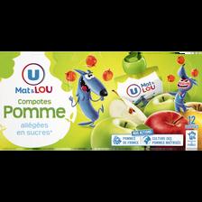Lou Gourdes Compote Allégée En Sucres Pomme U Mat & , 12 Unités, 90g