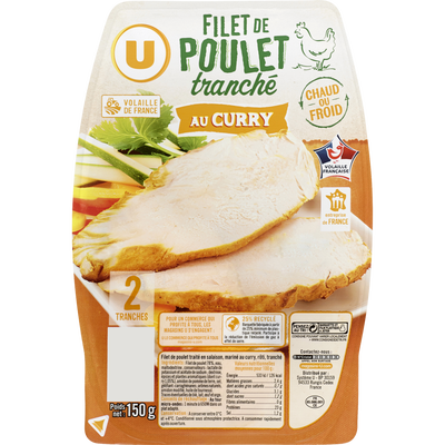 Filet de poulet au curry U, 2 tranches 150g