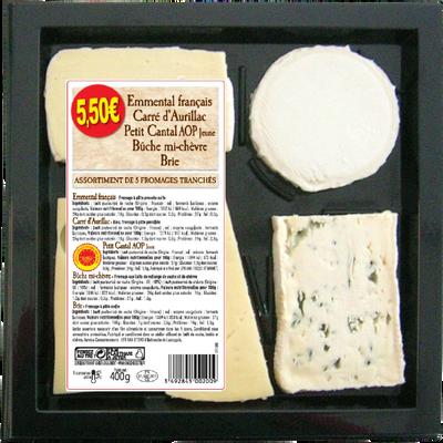 Plateau de 5 fromages lait pasteurisé emmental, bûche de chèvre, carréd'Aurillac, brie, cantal, 400g
