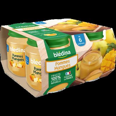 Compote infantile pomme mangue BLEDINA, dès 6 mois, 4x130g