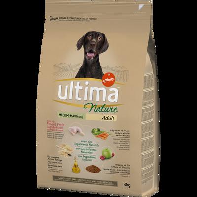 Croquettes pour chiens médium-maxi au poulet ULTIMA NATURE, sac de 3kg