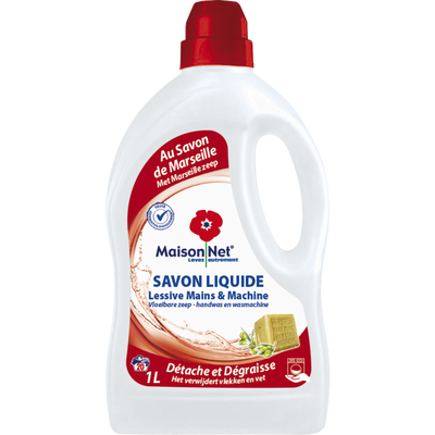 Lessive liquide mains et machine au savon marseille MAISON NET, bidonde 1l