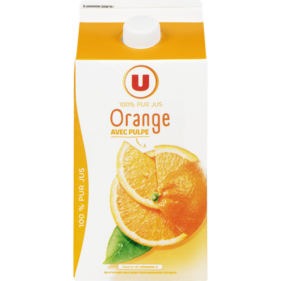 Pur jus réfrigéré orange pulpée flash pasteurisé U brique 1,50L