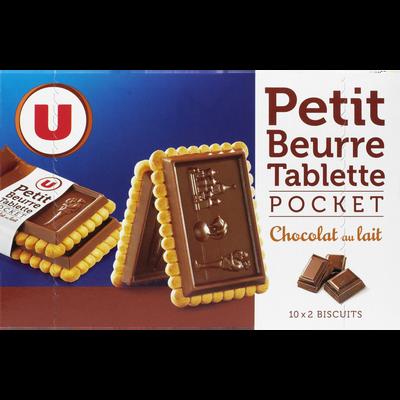Tablette petit beurre au chocolat au lait U, sachet pocket, 250g