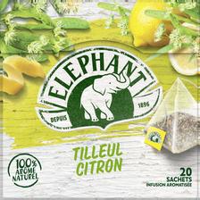 Elephant Infusion Tilleul Citron , 20 Sachets Pyramide De 28g
