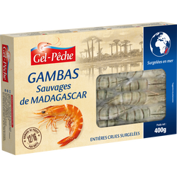 Crevettes sauvages Madagascar GEL PECHE, 16 à 24 pièces soit 400g