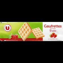 Gaufrettes fourrées à la fraise U, paquet de 110g