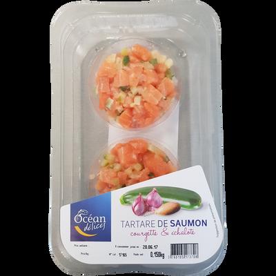 Tartare saumon échalote courgette, élaboré en France, 2 pièces, barquette de 150g