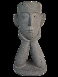 Pot décor tête d'homme en fibre de verre et magnésie 17x23x45,5cm