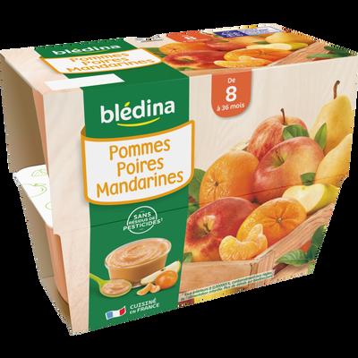 Coupelle de fruits pomme, poire et mandarine BLEDINA, dès 8 mois, 4x100g