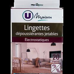 Lingettes dépoussierantes U MAISON, 20 unités