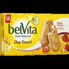 Belvita petit déjeuner duo fourré fraise yaourt LU, paquet de 253g