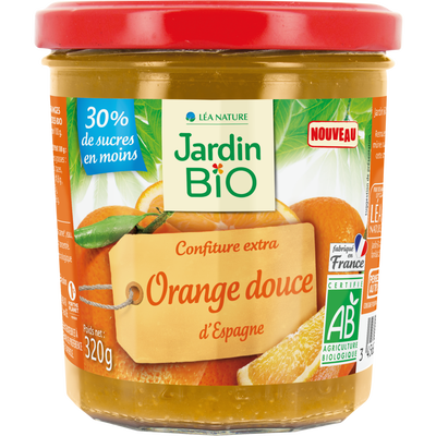 Confiture extra orange douce JARDIN BIO  320g  bocal verre