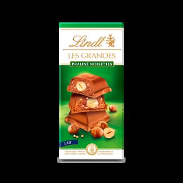 Lindt Chocolat Au Lait Les Grandes Pralines Noisettes Lindt, Tablette De 225g