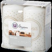 Bougies sérigraphiées U MAISON, blanc/or, 48x90mm, 2 unités