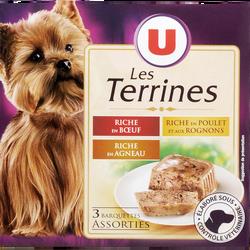 Terrines pour chien riche en boeuf, en agneau, riche en poulet aux rognons U, barquette de 3x300g