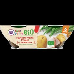 Bols haricots verts poulet Tout Petits Bio U, dès 6 mois, 2x200g