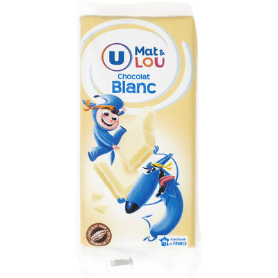 Chocolat blanc U MAT & LOU, 2 tablettes, 200g