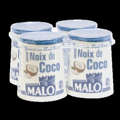 Yaourt au lait entier arômatisé coco, MALO, pot, carton, 4x125g