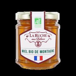Miel de montagne biologique LA RUCHE AUX DELICES, pot en verre de 250g