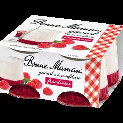 Yaourt brassé et confiture de framboise BONNE MAMAN, 4x125g