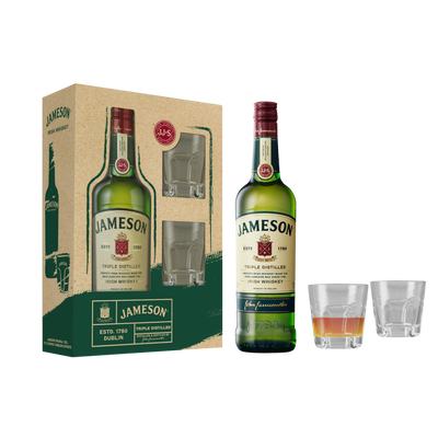 Irish whiskey JAMESON, 40°,  70cl+coffret 2 verres Tumble FA 19